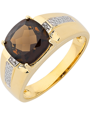Men's Ring - Yellow Gold Smokey Quartz & Diamond Set Ring - 763720