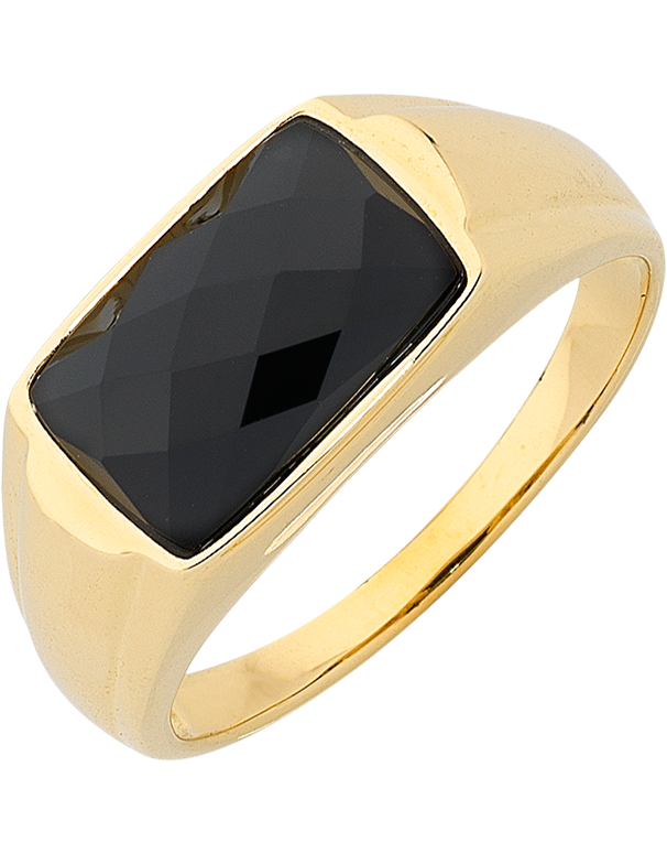 Men's Ring - Yellow Gold Onyx Set Ring - 763721 - Salera's