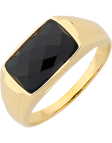 Men's Ring - Yellow Gold Onyx Set Ring - 763721