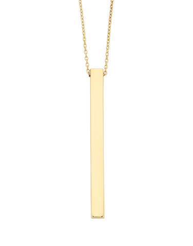 Gold Necklace - Yellow Gold Bar Necklet - 763742