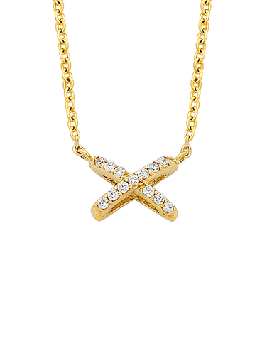 CZ Necklace - Yellow Gold CZ Necklet - 763749