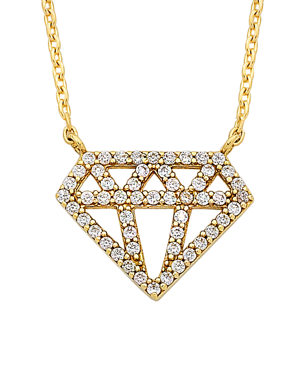 CZ Necklace - Yellow Gold CZ Necklet - 763752 - Salera's Melbourne, Victoria and Brisbane, Queensland Australia