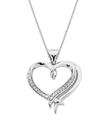 Diamond Pendant - 9ct White Gold Diamond Heart Pendant - 763755