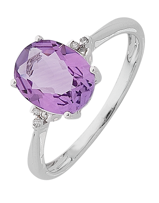 Amethyst ring - White Gold Amethyst and Diamond Ring - 763765 - Salera's