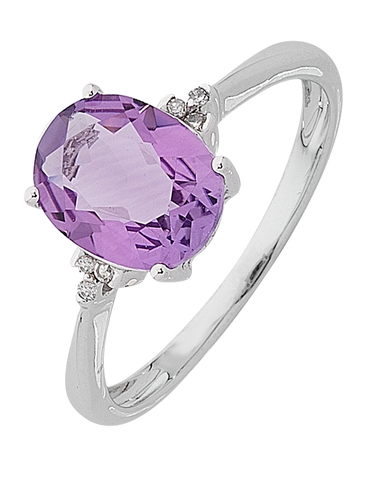 Amethyst ring - White Gold Amethyst and Diamond Ring - 763765