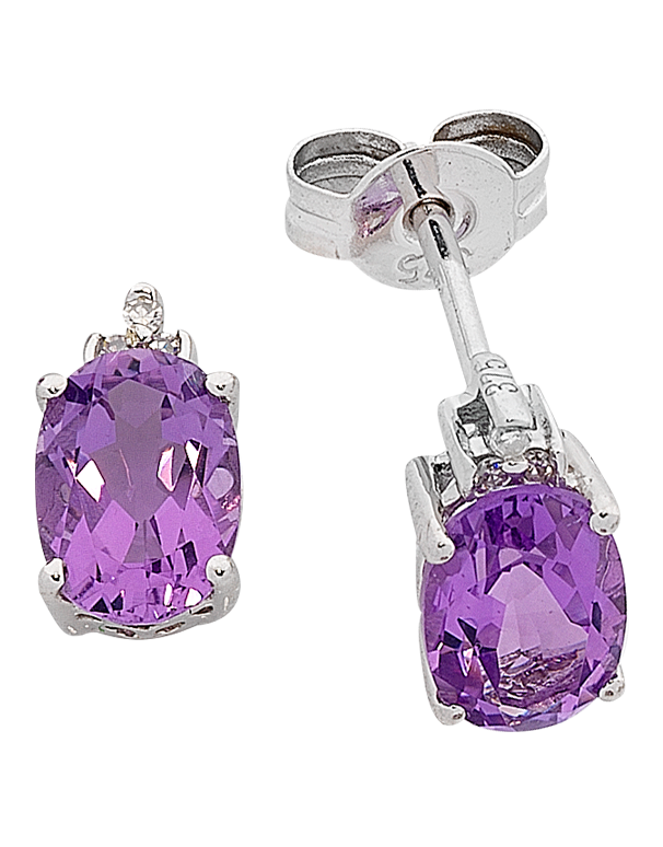 Amethyst Earrings - White Gold Amethyst and Diamond Earrings - 763766 - Salera's