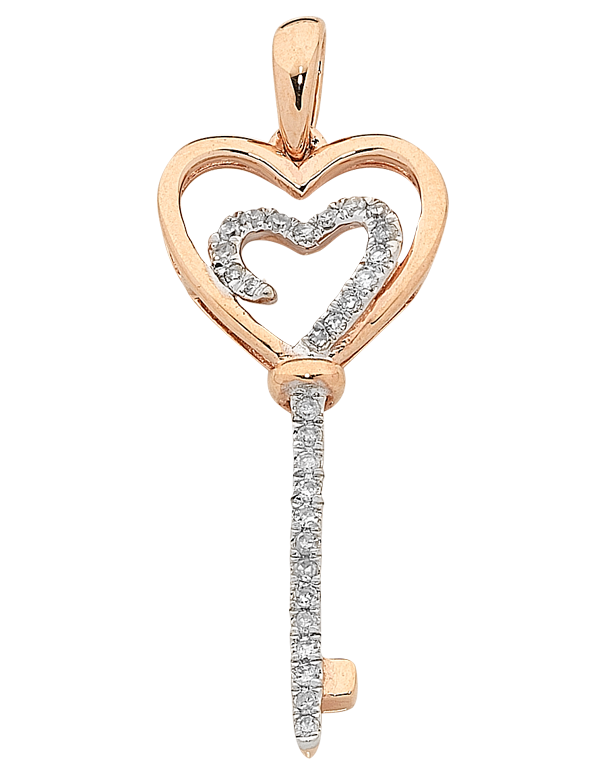 Diamond Pendant - Two Tone Gold Diamond Heart Key Pendant - 763770