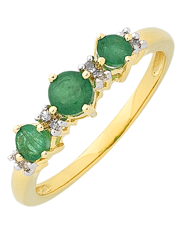 Emerald Ring Yellow Gold Natural Emerald & Diamond Ring