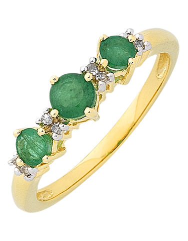 Emerald Ring - Yellow Gold Natural Emerald & Diamond Ring - 763772