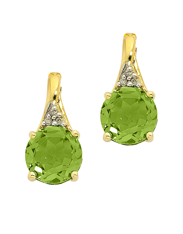 Peridot Earrings - Yellow Gold Peridot And Diamond Earrings - 763798 - Salera's