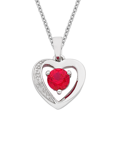 Ruby Pendant - White Gold Ruby & Diamond Heart Pendant - 763811
