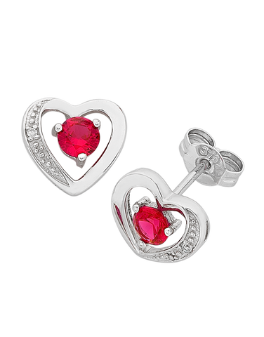 Ruby Earrings - White Gold Ruby & Diamond Earrings - 763812