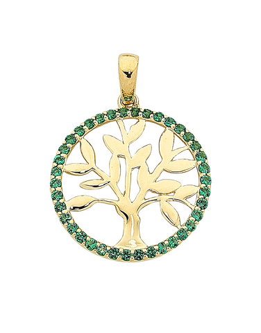 Gold Pendant - Yellow Gold Emerald Tree of Life Pendant - 763814