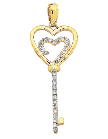 Diamond Pendant - Two Tone Gold Diamond Heart Key Pendant - 763817