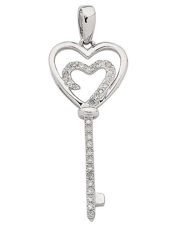 Diamond Pendant - White Gold Diamond Heart Key Pendant - 763818