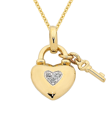 Diamond Pendant - Yellow Gold Diamond Heart Pendant - 763819