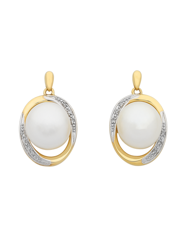 Pearl Earrings - Two Tone Gold Diamond Set Pearl Studs - 763823