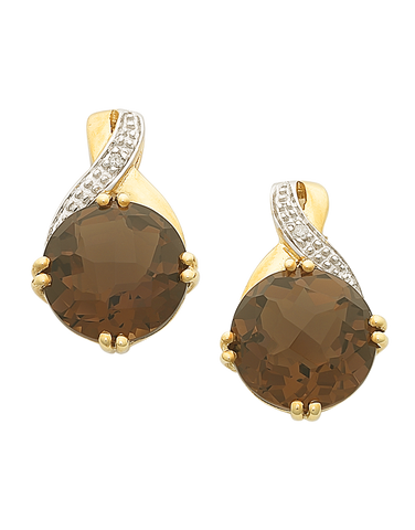 Smokey Quartz Earrings - Yellow Gold Smokey Quartz and Diamond Earrings - 763824