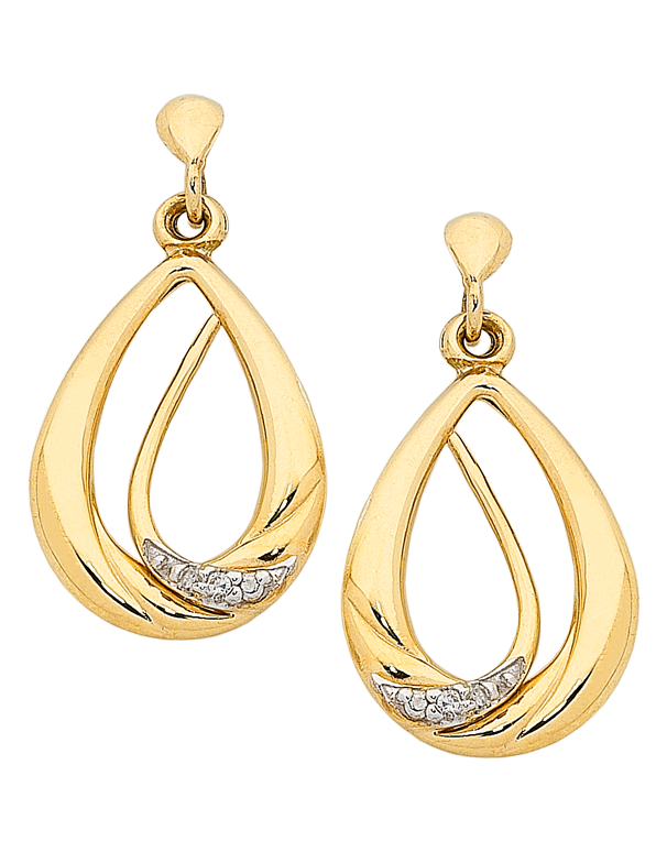 Salera's Diamond Earrings - Diamond Set Two Tone Gold Earrings - 763840