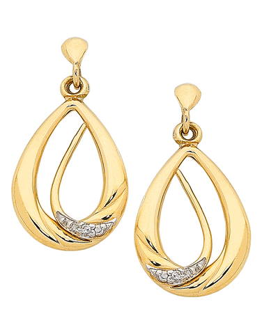 Diamond Earrings - 9ct Two Tone Gold Diamond Set Earrings - 763840