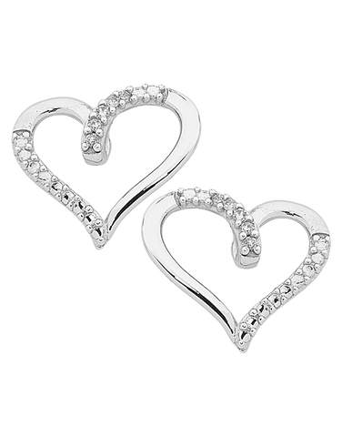 Diamond Earrings - White Gold Diamond Heart Earrings - 763842