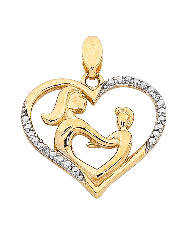 "Diamond Pendant - Two Tone Gold Diamond Set ""Mum"" Pendant - 763844 - Salera's"