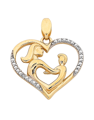 "Diamond Pendant - Two Tone Gold Diamond Set ""Mum"" Pendant - 763844"