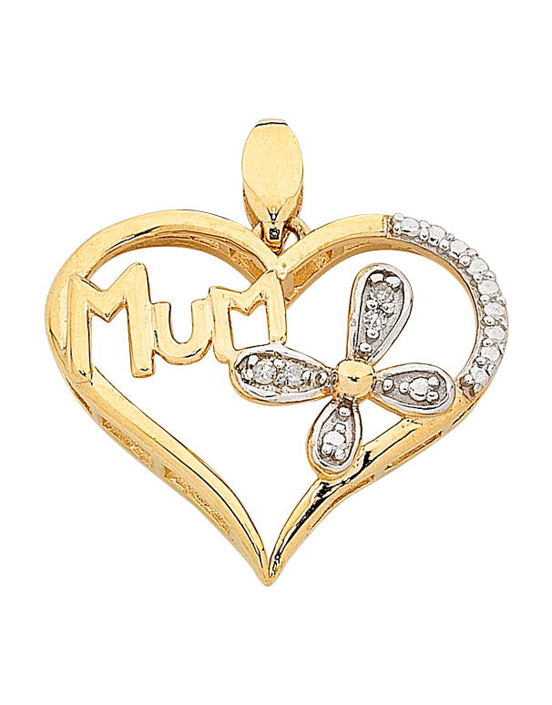 "Diamond Pendant - Two Tone Gold Diamond Set ""Mum"" Pendant - 763845 - Salera's"