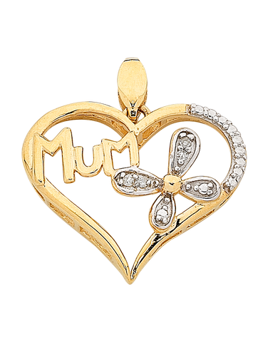 "Diamond Pendant - Two Tone Gold Diamond Set ""Mum"" Pendant - 763845"