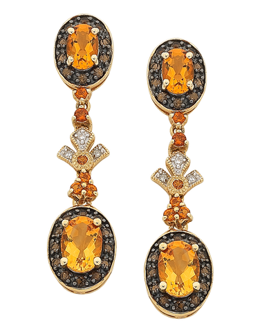 Citrine Earrings - Yellow Gold Citrine & Diamond Earrings - 763904