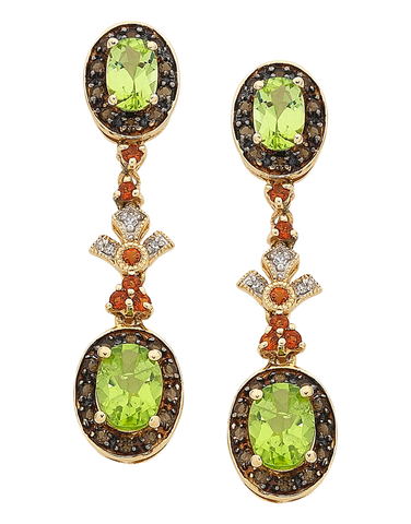 Peridot Earrings - Yellow Gold Peridot & Diamond Earrings - 763905