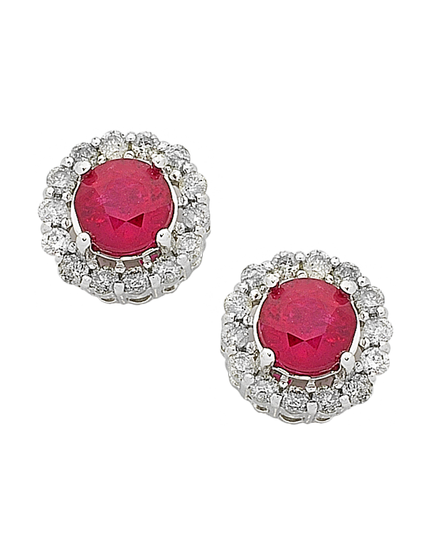 Ruby Earrings - Yellow Gold Ruby & Diamond Stud Earrings - 763907 - Salera's Melbourne, Victoria and Brisbane, Queensland Australia