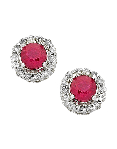 Ruby Earrings - White Gold Ruby & Diamond Stud Earrings - 763907