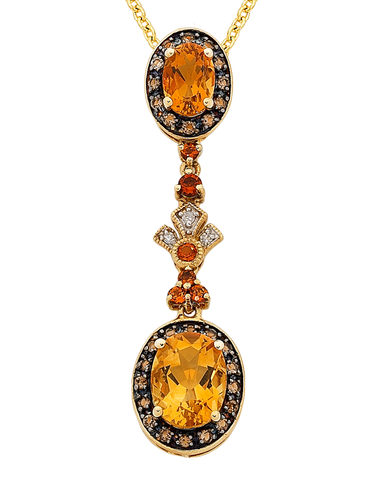 Citrine Pendant - Yellow Gold Citrine & Diamond Pendant - 763909