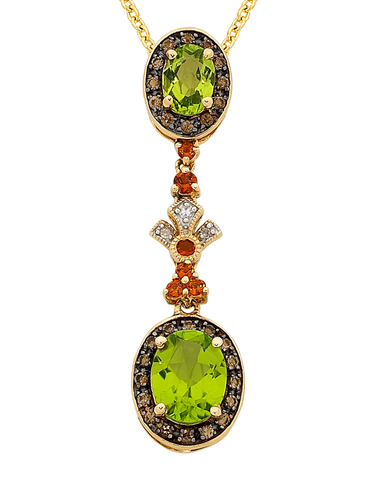 Peridot Pendant - Yellow Gold Peridot & Diamond Pendant - 763911
