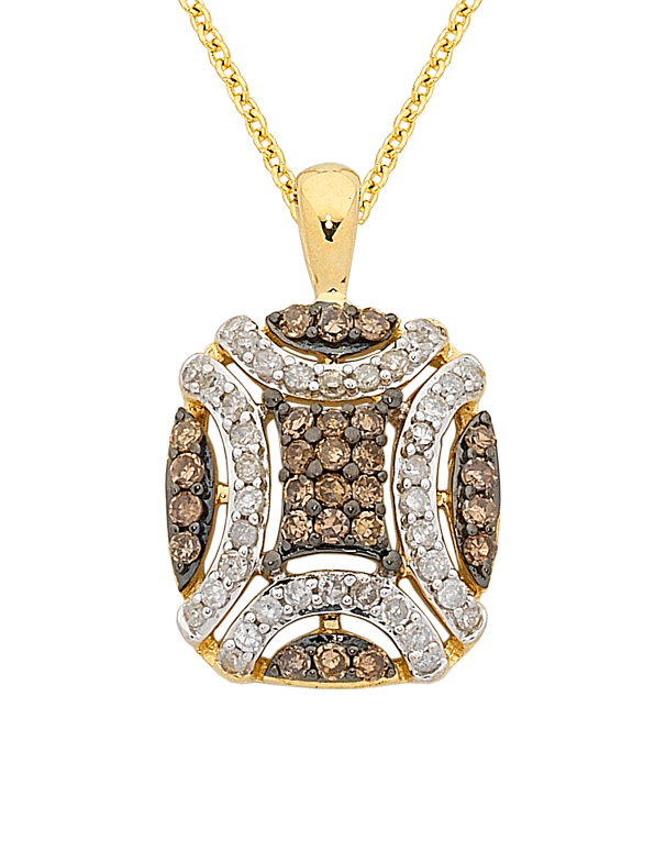 Diamond Pendant - Yellow Gold White & Champagne Diamond Pendant - 763914 - Salera's