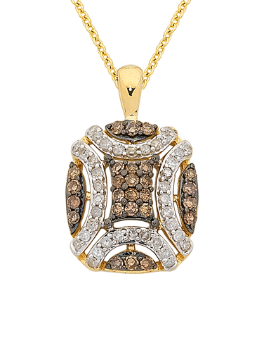 Diamond Pendant - Yellow Gold White & Champagne Diamond Pendant - 763914