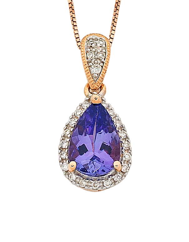 Tanzanite Pendant - Rose Gold Tanzanite & Diamond Pendant - 763915 - Salera's Melbourne, Victoria and Brisbane, Queensland Australia