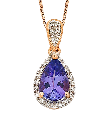 Tanzanite Pendant - Rose Gold Tanzanite & Diamond Pendant - 763915