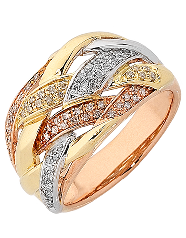 Diamond Ring - Three Tone Gold Diamond Dress Ring - 763924