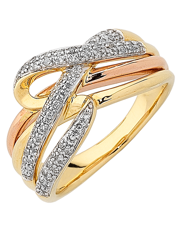 Diamond Ring - Three Tone Gold Diamond Dress Ring - 763925 - Salera's Melbourne, Victoria and Brisbane, Queensland Australia