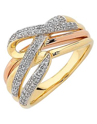 Diamond Ring - Three Tone Gold Diamond Dress Ring - 763925