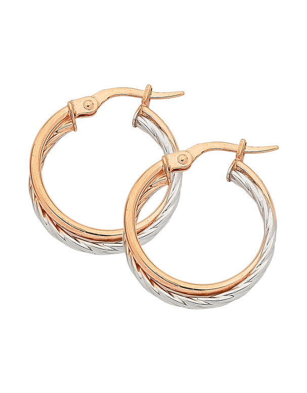 Gold Earrings - Two Tone Gold Hoop Earrings - 763931
