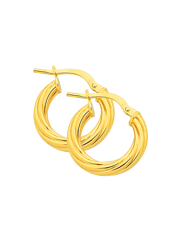 Salera's Gold Fusion Earrings - Gold Twist Hoop Earrings - 763947