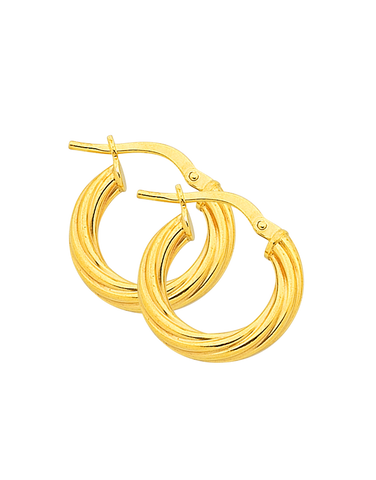 Gold Fusion Earrings - Gold Twist Hoop Earrings - 763947