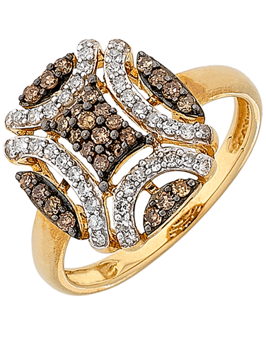 Diamond Ring - Yellow Gold White & Champagne Diamond Ring - 764000