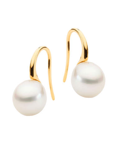 Pearl Earrings - 9ct Yellow Gold South Sea Pearl Drop Earrings - 764137