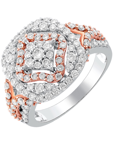 Diamond Ring - White and Rose Gold Diamond Ring - 764225
