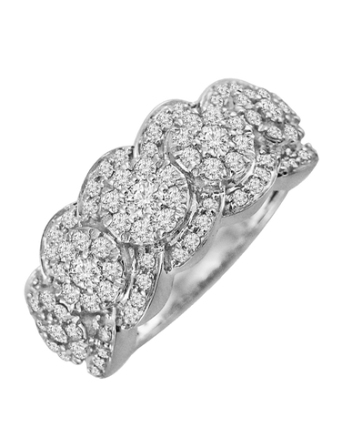 Diamond Ring - White Gold Diamond Cluster Ring - 764229