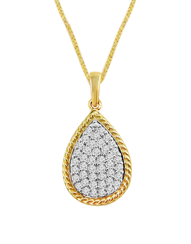Diamond Pendant - Yellow Gold Diamond Pear Pendant - 764230